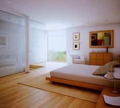 dormitorios, pisos de madera blancas y vista