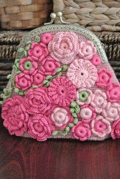 #Bag small #pink #flowers, Irish lace, handmade crochet with ellementami Irish…
