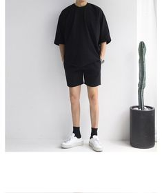 : Buy Real Boy Short-Sleeve Crewneck T-Shirt Stylish Mens Fashion, Korean Fashion Men, Stylish Mens Outfits, Casual Outfits, Boy Fashion, Vintage Summer Outfits, Retro Outfits, Style Masculin, Mens Clothing Styles