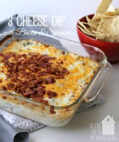 3 Cheese Dip with Bacon and Spinach | As For Me and My Homestead