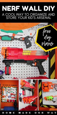 Create a Nerf wall for your kids to organize their gear and ammo. Free DIY plans included | kids rooms | toys | storage | vertical | pegboard | bins | hooks | simple DIY | #nerfwall #nerfgun #organize #toys Nerf Gun Storage, Toy Storage, Kitchen Pegboard, Toy Rooms, Kids Rooms, Boys Room Decor, Craft Organization, Simple Diy, Asia