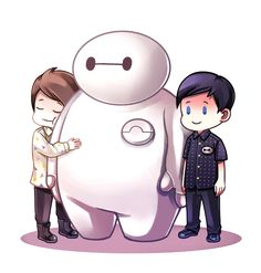 Dan and Phil with Baymax