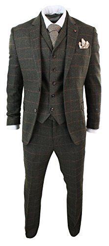 4ccaf842a18d5f Mens Herringbone Tweed Olive Green Check 3 Piece Wool Suit Peaky Blinders  Tan Mens 3 Piece