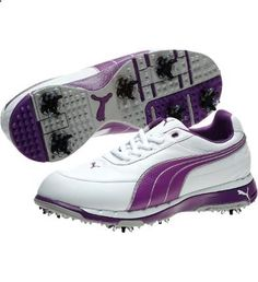 Golf Shoes - Puma FAAS Trac Women's Golf Shoe in White/Violet | #golf4her #puma