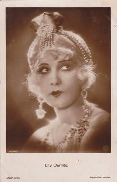 Beautiful Silent Film Actress Lily Damita in Sparkling Headdress...1920s