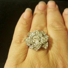 Cz 3d Flower Ring Size 9