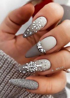 Grey Nail Designs, Winter Nail Designs, Christmas Nail Designs, Beautiful Nail Designs, Simple Nail Designs, Acrylic Nail Designs, Grey Acrylic Nails, Simple Acrylic Nails, Grey Nail Art