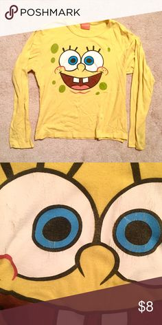 Spongebob Long Sleeve Old-school authentic Spongebob Squarepants long sleeved yellow shirt. 15+ years old!!! Graphics are cracked slightly as shown in the photo. Fits Small - Medium Tops Tees - Long Sleeve