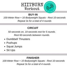 6.8 - With Thrusters and Squat Jumps, your legs will be burning...but you'll be gaining tons of strength! Paired with Push-ups and Sit-ups, this is one well rounded workout for your weekend! HIITBURN.com/friends  #hiitburn #hiit #hiittraining #hiitworkout #workout #wod #workoutoftheday #bodyweight #bodyweighttraining #bodyweightworkout #bodyweightexercises #fit #fitness #fitfam #fitcouple #fitcouples #igfitness #igfitcouples #igfitfam #gym #gymlife #gymtime #homeworkout…