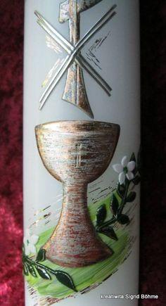 Kommunionkerze mit Kelch und Kreuz // communion candle with chalice and holy cross