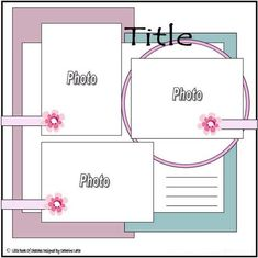 scrapbook layout idea for three photos Album Photo Scrapbooking, Album Scrapbook, Scrapbook Layout Sketches, Scrapbook Templates, Scrapbook Designs, Disney Scrapbook, Baby Scrapbook, Scrapbook Paper Crafts, Scrapbook Supplies