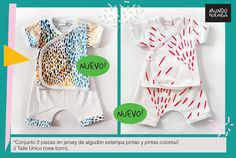 Conjunto de remerita y short New Born, en estampa pintas rojas y colores. Talle único.