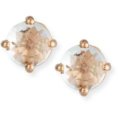 Kalan By Suzanne Kalan Classic Mini White Topaz Stud Earring in 14K... ($275) ❤ liked on Polyvore featuring jewelry, earrings, 14k rose gold earrings, suzanne kalan earrings, earring jewelry, rose gold earrings and round earrings