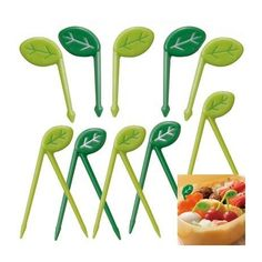 Japanese Bento Food Pick Leaf 10 pcs for Bento Box - Small for Bes.