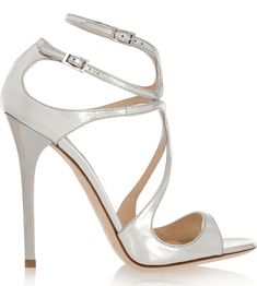 Jimmy Choo - Lance Metallic Leather Sandals - Silver Heel measures approximately inches. Finished with a sleek heel, the straps support your feet from to toe. Metallic Sandals, Strappy Sandals Heels, Strap Sandals, Bridal Shoes, Wedding Shoes, Toni Garrn, Vogue, Jimmy Choo Shoes, Metallic Leather
