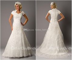Wholesale cheap wedding accessories online, 2014 fall winter - Find best elegant modest vintage a-Line wedding dresses bridal gown high neck short sleeves lace applique sequins chapel train zipper back lining hot at discount prices from Chinese a-Line wedding dresses supplier on DHgate.com.