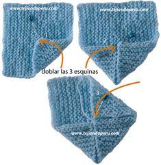Cómo tejer zapatitos para bebes en dos agujas o palitos a partir de 2 cuadrados