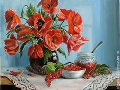 Купить Смородиновое варенье - комбинированный, маки, смородина, варенье, лето, картина в подарок, картина