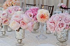 Mercury-Glass Centerpieces    Photography: Handeland Tesoro Photography   Read More:  http://www.insideweddings.com/weddings/romantic-ocean-view-wedding-in-santa-barbara-california/464/