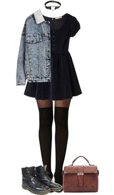 You and I - PVRIS by grungeclothes featuring a denim jacket Denim jacket, 63 AUD / dazzlin Official WebStore -ダズリン 公式通販サイト   RUNWAY channel WEB STORE  …, 37 AUD / Boohoo nylon stocking, 20 AUD / Dr. Martens combat boots, 95 AUD / Vintage purse, 21...