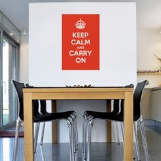 "This Cool keep calm wall sticker features the ""Keep Calm and Carry On"" Quote in a beautiful typography. This wall quote sticker is easy to apply and remove. Vinyl wall art is a great choice for adding wall decor to kitchen or dinning areas Office Wall Decals, Kitchen Wall Decals, Vinyl Wall Decals, Dinning Room Wall Decor, Dining Room Walls, Bedroom Decor, Dining Area, Traditional Wall Decor, Wall Stickers Quotes"