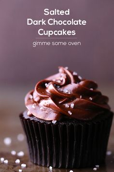 Salted Dark Chocolate Cupcakes | Gimme Some Oven