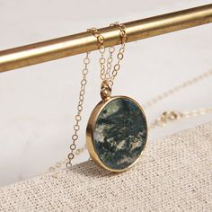 Birthday Gift Round Cabochon Prong Pendant Summer Wedding Natural Round Stone Necklace Simple Statement Laguna Agate Gold Fill Necklace
