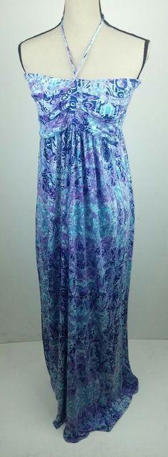 e563429d88 Details about Faded Glory Women s Large Dress Halter Maxi Long Teal Purple  Tribal Aztec Summer