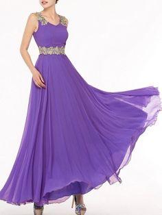 Courtlike Slash Neck Chiffon Pure Maxi-dress Maxi Dresses from fashionmia.com