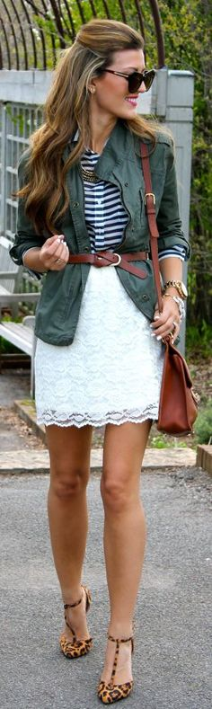Spring Fashion 2015. Laced skirt accented by a striped blouse and military jacket. Too cute! ::M::