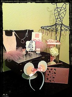 Angelina Ballerina Birthday Party !!   The works invitation, cupcake toppers, favor bag, mouse ears, centerpieces. All custom made to suit your events!!!  www.blackroseevents.com