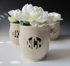 Personalized Monogram Gift  Vase for Individuals or by MaidOfClay, $62.00