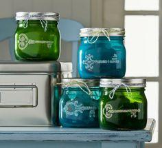 Mini mason jar storage with Mod Podge Sheer Colors and stencils