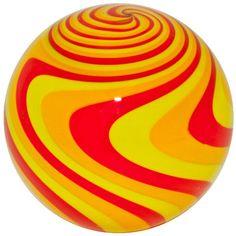 """Fritz Lauenstein 2 1/8"""" Brilliant Orange & Yellow Reverse Twist Art Glass Marble #ArtGlassMarble"""
