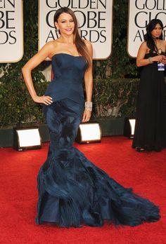 This look defined elegance for me. This Vera Wang dress was perfect for her and the design on the skirt was stunning. Loved it! (Sofia Vergara at 2012 Golden Globes in Vera Wang)
