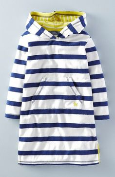 Mini Boden 'Towelling' Hooded Beach Dress (Toddler Girls, Little Girls & Big Girls)