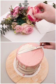 Bake your own wedding cake: Naked Cake with eucalyptus and .- Hochzeitstorte selber backen: Naked Cake mit Eukalyptus und Blumen Bake your own wedding cake: Naked Cake with flowers and eucalyptus - Drip Cakes, Food Cakes, Bolo Diy, Nake Cake, Birthday Cake For Him, Wedding Cake Pops, White Wedding Cakes, Gateaux Cake, Birthday Cake Decorating
