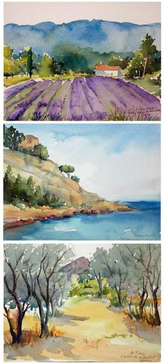 "Hands-On instruction in Watercolor Painting with Jo Williams. This and so much more is what you will experience during your ""A Week in Provence-Watercolor Experience"" with Artistic Gourmet Adventures and Jo Williams. Watercolor Pictures, Watercolor Sketch, Watercolor Landscape, Watercolour Painting, Landscape Art, Painting & Drawing, Watercolor Scenery, Watercolor Ideas, Guache"