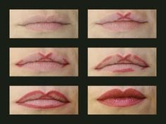 Apply your lipliner like this to get an even Cupid's bow shape.