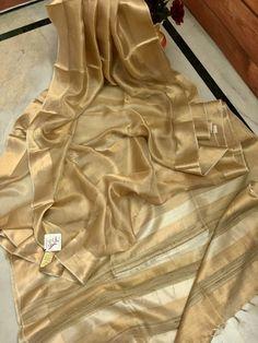 Presenting Tussar Tissue silk saree. Note :dry clean only Gold Silk Saree, Kora Silk Sarees, Tussar Silk Saree, Cotton Saree, Kerala Saree Blouse Designs, Saree Blouse Neck Designs, Jute, Golden Saree, Simple Sarees