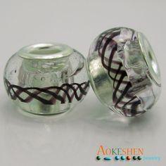 Wholesale Transparent Lampwork Murano Glass Beads Purple Line