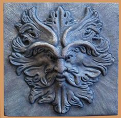 Green man Leaf Girl Face Wall Plaque Antique Reproduction Faux Finish