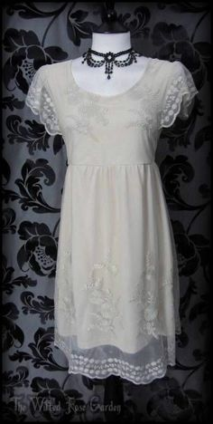 Romantic Vintage Dark Cream Rose Lace / Net Tea Dress 18 Victorian Doll Boho | THE WILTED ROSE GARDEN on eBay // Worldwide Shipping Available