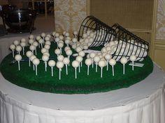 Golf Ball Cake Truffles on golf tees.