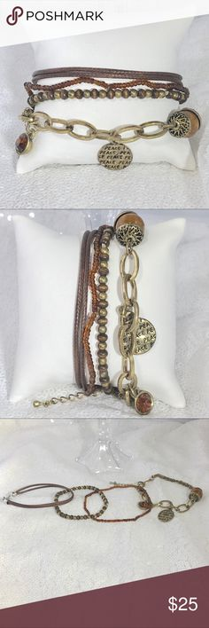 Four piece mixed media bracelet bundle Faux leather, beaded and charm bracelet styles. Colors may vary slightly to lighting and photos. Measurements approximately as shown. ❌Smoke and pet free home. ⚡️Same/next day shipping. Save by bundling or make a reasonable offer through the offer button. No holds, trades or modeling. Wrapped and shipped with care. Jewelry Bracelets
