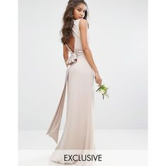 TFNC WEDDING High Neck Maxi Dress with Bow Back (£55) ❤ liked on Polyvore featuring dresses, wedding dresses and pink