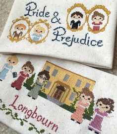 Pride and Prejudice 2 Pack Cross Stitch Patterns-Jane Austen Inspired PDF… Cross Stitching, Cross Stitch Embroidery, Embroidery Patterns, Cross Stitch Patterns, Jane Austen, Pride And Prejudice, Yarn Crafts, Needlework, Sewing Projects