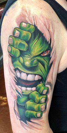 Badass Tattoos, Body Art Tattoos, Tricep Tattoos, Black Girls With Tattoos, Tattoos For Guys, Hulk Tattoo, Comic Tattoo, Super Hero Tattoos, Cool Tattoo Drawings