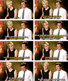 When they bickered like an old married couple when asked if they ever get sick of each other: | 27 Times Jennifer Lawrence and Josh Hutcherson Proved They Have The Best Offscreen Relationship Ever