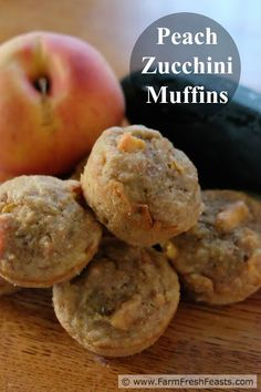Peach Zucchini Muffins: whole grain muffins sweetened with peach jam ...